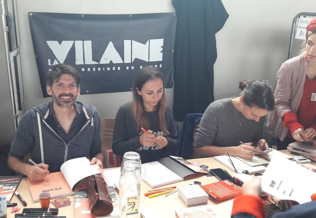 Renan Coquin, Elsa Bordier, Claire Malary et Céline Bertin au festival «Pré en bulles»